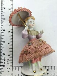 Vintage Victorian Girl Figurine With Umbrella Yellow Lace Dress Dresden