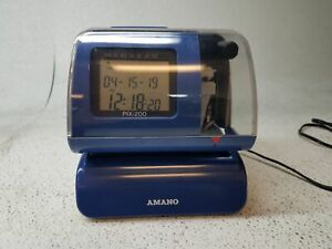 Amano Pix 200 Electronic Work Time Clock Recorder No Keys W Power Adpater