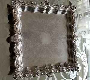 Antique English Silver Plate Footed Platter W Detailed Scrolls Etching