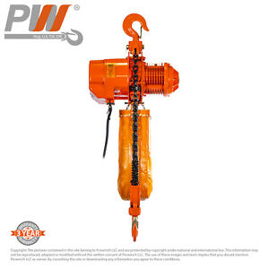 Prowinch 5 Ton Electric Chain Hoist Pwr5 30ft Lifting Height G100 Chain 3 Pha
