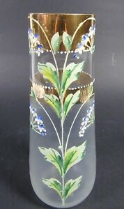 Art Nouveau Glass Vase Antique French Enameled Gilt Mont Joye Legras Moser Era