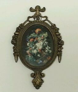 Vintage Italian Metal Frame With Glass Floral Picture