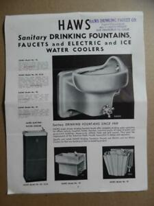 1940s Haws Drinking Fountain Water Cooler Catalog Brochure Vitreous China Vintag