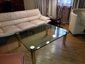 Vintage Mcm Brass And Glass Coffee Table By The Pace Collection Leon Rosen