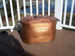 Antique Copper Boiler Wash Tub With Lid And Wooden Handles