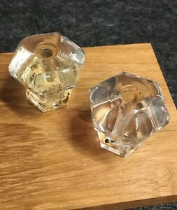 2 Antique 8 Points Clear Glass Cabinet Knobs Drawer Pulls 1 3 8 X1 3 8 Old