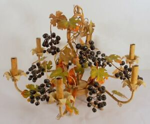 Mid Century Italian Tole Fruit Berries And Leaves Chandelier Six Light