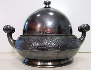 Antique Meriden Silver Plate Co Quadruple Plate Butter Dish In Vg Condition