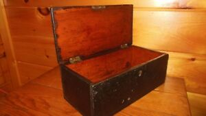 Vintage Wooden Handmade Document Box With Lock