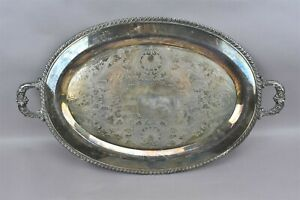 F B Rogers Silver On Copper Handled Tray Ornate 6718 1883 Trademark Crown