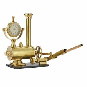 Vintage Style Steam Engine Clock Desk Set Pencil Holder Gold Accessory Train