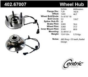 Premium Axle Bearing Hub Assembly Fits 2002 2006 Dodge Ram 1500 Centric Parts