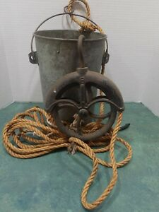 Antique Rustic Iron Water Well Pulley With Galvanized Water Bucket Some Holes