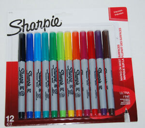 Sharpie Permanent Marker Ultra Fine 12 count Assorted Colors 37175 New