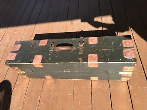 Vtg Antique Hand Made Carpenters Tool Box Fir With Brass Copper Accents Lqqk