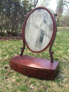 Antique Pennsylvania Federal Inlaid Mahogany Oval Mirror Dovetail Drawers 1800s