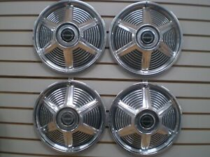 1965 Ford Mustang 14 Wheel Cover Hubcaps Oem Set 65
