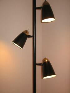 Pole Lamp Mid Century Modern 1960s 1970s Vintage Three Black
