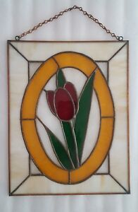 Vintage Stained Glass Hanging Window Panel Tulip Red Amber Green Slag Glass
