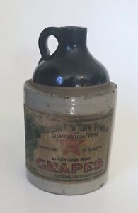 Old Stoneware Jug Western New York Penna Chautauqua Erie Wine Label Whiskey