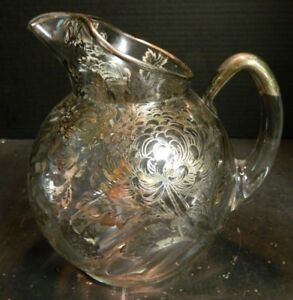 Vintage Sterling Silver Overlay Chrysanthemums Ball Pitcher 8 5 X 6 Excellent