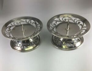 Vintage C1940 Ww2 Sterling Silver Pillar Candle Holder Set Of 2 Not Weighted