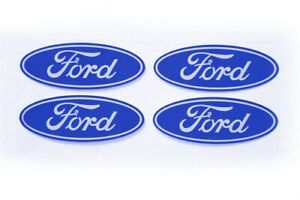 4 Ford Center Cap Logos Blue Oval Decals Vinyl F150 F250 Mustang Focus Fusion