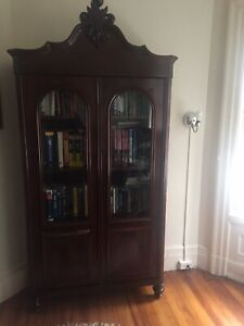Victorian Oak Wood Glass Two Door Bookcase