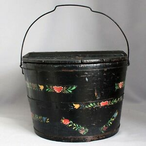 Antique Primitive Wooden Firkin Pantry Box Orig Black Paint Wood Pail Bucket
