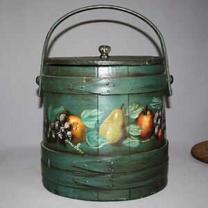 Antique Primitive Old Hand Paint Signed Green 10 Wooden Firkin Wood Pail Bucket