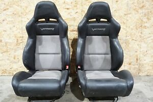 08 09 10 Dodge Viper Front Left Right Bucket Seat Black Leather Suede