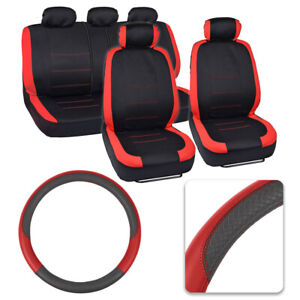 Red black Split Bench Full Car Seat Cover Set Pu Leather Steering Wheel Cover