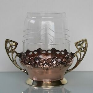 Art Nouveau Brass Copper Vase With Glass Insert Wmf