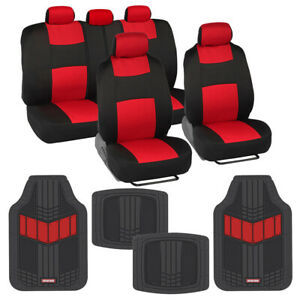 Two Tone Full Seat Cover Set And Heavy Duty Rubber Floor Mats Car Truck Suv Red