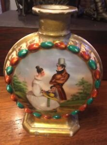 Hand Painted Signed France Gold Portrait Scenic Old Paris Porcelain Moon Flask