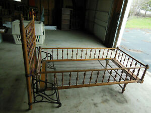 Antique Early Wooden Fold Up Youth Child Bed Spindle Style Cast Iron Rails Nice