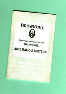 Browning Model A5 Automatic 5 Shotgun Owners Manual Reproduction