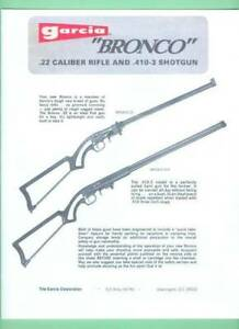 Garci Model Bronco 22 410 Factory Owners Instructions Manual Reproduction