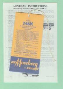 Mossberg Model 346b a And 346k a Owners Instructions Manual Reproduction