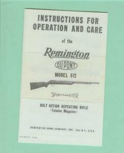 Remington Model 512 Factory Owners Instructions Manual Reproduction