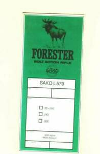 Sako Model Forester L579 Owners Manual Reproduction