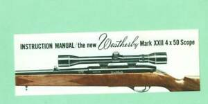 Weatherby Model Mark Xxii Scope Owners Manual Reproduction