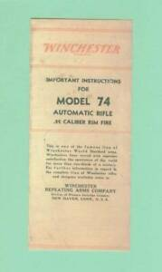 Winchester Model 74 Owners Manual Reproduction