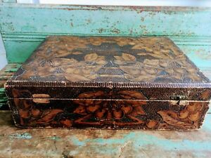 Antique Victorian Pyrography Flemish Art Co Huge Chest Box With Cherries
