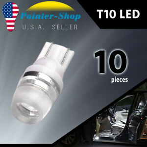 10x Pure White T10 2825 Wedge Led Dome Map License Interior Light Bulbs 192 168