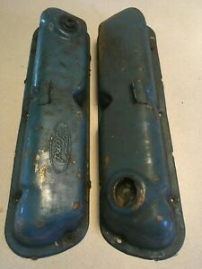 Vintage Ford Logo 289 302 351w Valve Covers Blue Sbf Mustang Oem Factory Stock