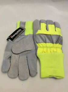 Reflective Yellow gray Leather Gloves 100 Gram 3m Thinsulate Lining Safety Cuff