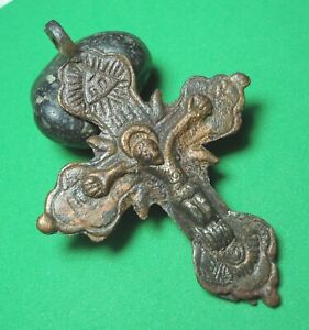 Ancient Bronze Cross Wearable Pendant Antique Rare C131