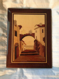 Wood Marquetry Inlay Plaque Picture European Village Glossy 9 T