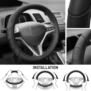 Pu Leather Microfiber Gray Stitched Steering Wheel Cover For Car Truck Suv